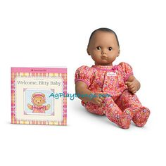 AMERICAN GIRL BITTY BABY DOLL RETIRED WINTER FUN ACCESSORIES PRESENT WITH CAT