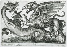 Two Chimerical Animals Fighting Series: Battling Animals, pl. 21 Hendrik Hondius I (Flanders, Duffel, 1573-circa 1649) Holland, 1610 Prints; etchings