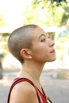 buzz cut and her face