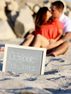 Chalkboard Photo Prop Wedding Engagement Sign by braggingbags. , via Etsy.