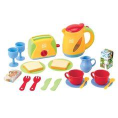 Playgo 3710 - Spielküche Toaster, Wasserkocher, Geschirr und Frühstück Set…
