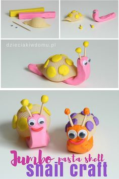 jumbo pasta shell snail craft