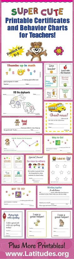 Free Super Cute Printable Certificates and Behavior Charts for Teachers!  These are perfect for K-3 teachers!  You will get a 17 page PDF booklet with 27 unique designs.  Help reinforce new positive behaviors. Inspire your students toward better behavior and better self-esteem.  The designs can be printed in in color or black and white.  Help foster good communication with parents.  Easy to personalize for your students.  Students and teachers love them!
