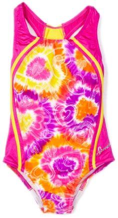 Speedo Girls 7-16 Tye Dye Love Sport Splice 1 Piece Swimsuit