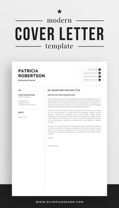 Focus on your cover letter content instead of stressing about the letter's formatting. Use a professionally designed template and make your cover letter look amazing. Get the resume template pack Patricia with matching resume, cover letter and references templates, and create an impressive job application today! #coverletter #resume #resumetemplate #cv #cvtemplate #career #careeradvice #job #jobsearch Modern Resume Template, Cv Template, Resume Templates, Professional Cover Letter Template, Cover Letter For Resume, Cv Words, Resume References, Microsoft Word 2007, One Page Resume
