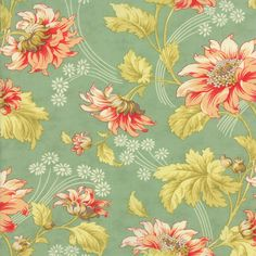 Honeysweet - Autumn Rose in Pond: sku 20210-16 cotton quilting fabric by Fig Tree and Co. for Moda Fabrics - 1 yard