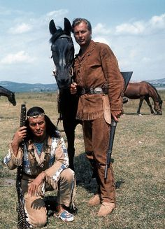Winnetou (Pierre Brice, L), Chief of the Apache Indians, and his white-skin friend Old Shatterhand (Lex Barker) are the heroes of films based Iconic Movie Characters, Iconic Movies, Old Movies, Funny Wedding Photos, Funny Photos, May Movie, Mallorca Party, 80s Actresses, Actors Funny