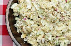 Cauliflower 'Potato' Salad: Preheat oven to 400 F / microwave On baking sheet: 1 head cauliflower, small florets Salt & pepper to taste 2 Tbsp olive oil Bake for 25 min until lightly browned and a bit crispy. Dressing: 1/2 c Greek yogurt 1 Tbsp dijon mustard 1 Tbsp honey 2 Tbsp dill, chopped 1 Tbsp olive oil 1 garlic clove, crushed Juice of 1/2 lemon 1/2 red onion, diced 3 stalks celery, diced 3 hard boiled eggs, chopped Cool cauliflower slightly, mix into yogurt dressing.