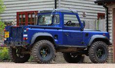 Land Rover Defender 90 Tdi pickup truck in blue dark. Land Rover Defender Pickup, Land Rover Pick Up, Land Rover 130, Land Rover Series 3, Defender 90, Land Rovers, Old Pickup Trucks, Lifted Ford Trucks, 4x4