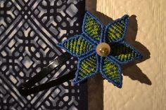 Barrette à Cheveux Fleur Bleue Edelweiss Macramé