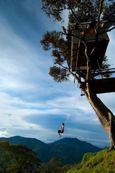 """The swing at the """"End of the World"""", Casa del Arbol, Baños, Ecuador. I'm so super bummed we didn't have enough time in Banos to make it to the swing! Guess I gotta go back!"""