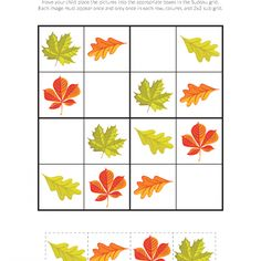 Fall Leaves Sudoku Puzzles - Gift of Curiosity Body Preschool, Fall Preschool Activities, Preschool Worksheets, Infant Activities, Sudoku Puzzles, Puzzles For Kids, Newspaper Crafts, Kindergarten Art, Art Lessons Elementary