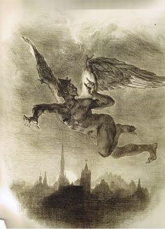 Eugène Delacroix, Méphistophélès dans les airs, Planche de Faust, tragédie de M. de Goethe, 1827 - Lithographie