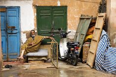 Moroccan man relaxing in the backstreets of Marrakesh, Africa. www.facebook.com/wildcanadasalmon