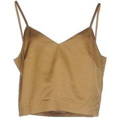 Erika Cavallini Semicouture Top ($170) ❤ liked on Polyvore featuring tops, khaki, brown tops, sleeveless tops, rayon tops and brown sleeveless top