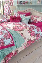 Vintage Rose Print Duvet And Pillowcase Set
