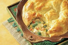 Refrigerated biscuits make the perfect crust for our easy to make chicken pot pie...it's family friendly, very tasty, and on the table in less than one hour.