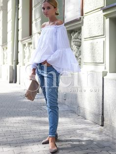 Shop White Boat Neck Lace Loose Blouse online. SheIn offers White Boat Neck Lace Loose Blouse & more to fit your fashionable needs.