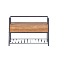 Polenace Wood and Metal Storage Bench Symple Stuff Colour: Anthracite Wooden Shoe Storage, Bench With Shoe Storage, Upholstered Storage Bench, Bedroom Storage, Wicker Basket Drawers, Hallway Bench, How To Store Shoes, Structure Metal, Natural Wood Finish