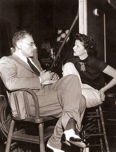 "George Cukor and Katharine Hepburn on the set of ""Adam's Rib"", 1949."