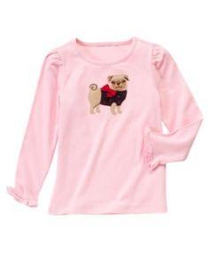 Gymboree Pups & Kisses pink pug shirt,