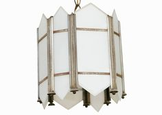 Art Deco Slat Glass Pendant Light | From a unique collection of antique and modern chandeliers and pendants at https://www.1stdibs.com/furniture/lighting/chandeliers-pendant-lights/