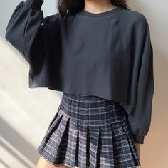 One size: Sleeve length 41 Length 45 Bust 156 - Online Store Powered by Storenvy Pleated Skirt Outfit Short, Skirt Outfits, New Outfits, Fashion Outfits, Cute Casual Outfits, Pretty Outfits, Mein Style, Sweatshirt Outfit, Cute Fashion