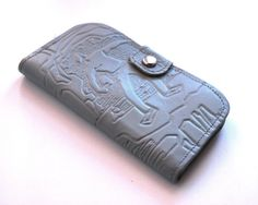 Gray Wallet Vintage Leather Wallet With Mirror Soviet by aveing