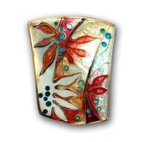 <p>Brooch – Poinciana <br />2009<br />36mm x 28mm<br />Stg and fine silver, cloisonné and champleve enamel From a series based on poinciana leaf and flower forms.</p> <p>Sold</p>