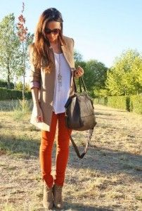 Booties and colored skinnies. Fall Finds.