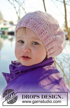 """Knitted DROPS children beret with pom pom in """"DROPS ♥ You #3"""" or """"Karisma"""". ~ DROPS Design...FREE PATTERN"""