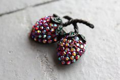 Weiss Strawberry Vintage Brooch AB Crystals // by SpiralCreations