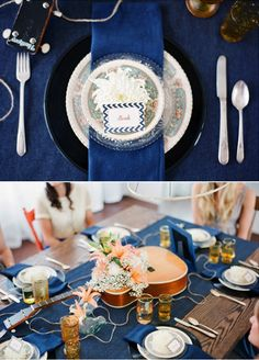 100 Layer Cake: Bridal Shower Inspiration -- I would LOVE this with an off-white lace table runner instead of denim. Denim Wedding, Blue Wedding, Wedding Colors, Wedding Reception, Wedding Ideas, Bridal Shower Decorations, Bridal Shower Games, Table Decorations, Bridal Showers
