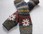 Nordic Print Wool Arm Warmers Upcyled