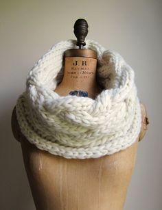 Oversized Cable knit cowl Cream Ivory Infinity scarf by Happiknits, $98.00
