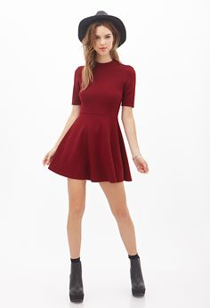 Mock Neck Fit & Flare Dress | FOREVER21 - 2000120457