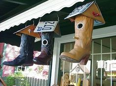 Cowboy Boot Bird Houses!!  So cute!! http://media-cache8.pinterest.com/upload/100275529173183855_tYJUkbdv_f.jpg katieellen98 garden