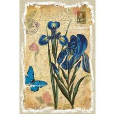 Yosemite Home Decor 16 in. x 24 in. Blue Lotus stamp Model Linen Prints Contemporary Artwork-CF122132M at The Home Depot