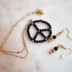Onyx and Pink Coral Peace Sign and Earrings Set (sold, 2010) For a duplicate convo me at bordeauxlanestudio.etsy.com