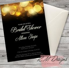 Glamorous Bridal Shower Invitations Gold or by RMDesignsStore