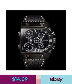 Wristwatches Oulm Multi-Time Zones Military Army Mens Analog Quartz Sport Leather Wrist Watch #ebay #Fashion