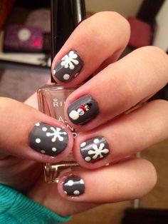 Snowman/Snowflakes Winter Nails