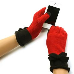 New Ladies Winter Fancy 2 Tone Ribbon Bow Dressy Casual Knit Magic Touch Screen Thumb Index Technology Glove Outdoor Indoors Gloves with 2 Tone with Curled Wrist Magic Touch Glove for Tablet PC, Ipods, Ipads, Iphones, Laptops, Touchscreens, PDA and so much more New Technology, it's amazing! Keep your glove on and adjust your electronic devices. Warm and Comfortable Super soft & warm. New and improved quality and fit...