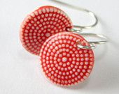 Porcelain Dangle Earrings Red and White Dots With Hand Forged Sterling Silver Earwires