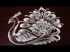 latest and beautiful peacock rangoli designs  innovative multicolor peacock kolam by simplerangoli - YouTube