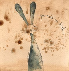 Blushing Hare, Ink drawing by Jilly Henderson
