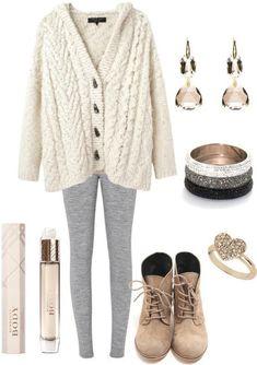 White cardigan, grey leggings and light tan boots. Repin.