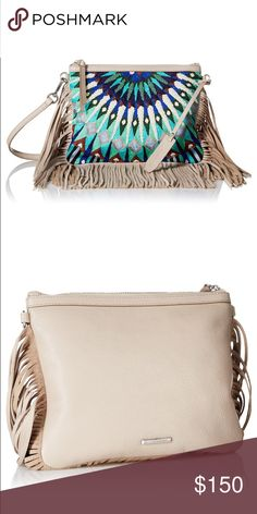 "Rebecca Minkoff Beaded Handbag Rebecca Minkoff beaded calf leather crossbody bag with fringe trim. Removable, adjustable shoulder strap, 20"" drop. Zip top closure. Twill lining. 7.3""H x 9""W x 0.3""D. Rebecca Minkoff Bags Crossbody Bags"