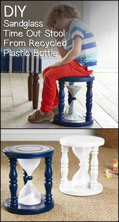Build a time out stool for your kids using recycled PET bottles.