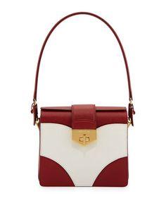 Tricolor Saffiano Turn-Lock Satchel Bag, Red/White (Fuoco+Bianco) by Prada at Neiman Marcus.